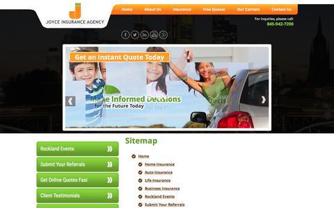 Screenshot of Site Map Page joyceins.com - Joyce Insurance Agency – Insurance Agency in New York - Sitemap - captured Nov. 27, 2016