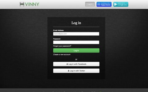 Screenshot of Login Page myvinny.com - Log in | Vinny - captured Sept. 17, 2014