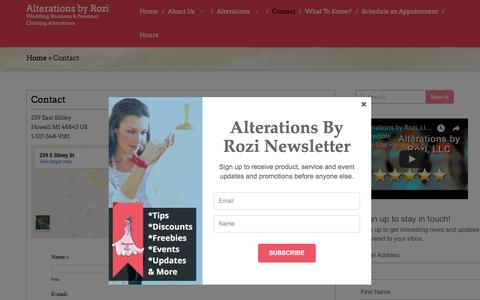 Screenshot of Contact Page alterationsbyrozi.com - Contact | Alterations by Rozi - captured July 29, 2018