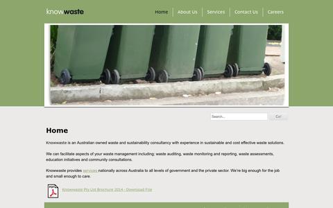 Screenshot of Home Page knowwaste.com.au - Home - Knowwaste - captured Oct. 6, 2014
