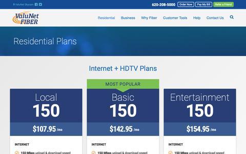 Screenshot of Products Page myvalunet.com - Residential Internet & TV Plans   ValuNet Fiber   Emporia, Kansas - captured Oct. 19, 2018