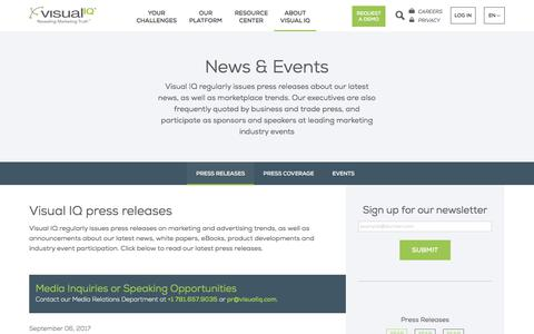 Screenshot of Press Page visualiq.com - Press Releases - Visual IQ - captured Sept. 22, 2017