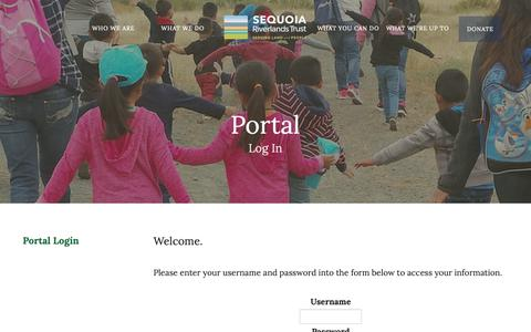 Screenshot of Login Page sequoiariverlands.org - Sequoia Riverlands Trust : Portal : Portal Login - captured Oct. 1, 2018