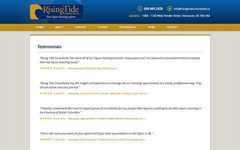 Screenshot of Testimonials Page risingtideconsultants.ca - Testimonials for Rising Tide Consultants - captured Oct. 6, 2014