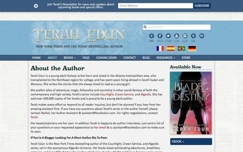 Screenshot of About Page terahedun.com - About the Author   Terah Edun - captured July 6, 2018