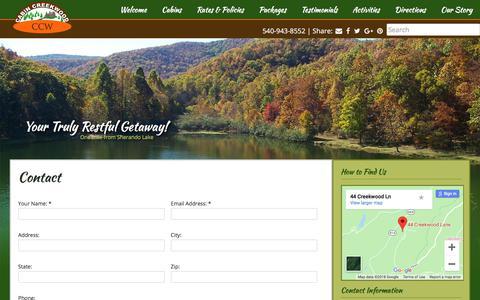 Screenshot of Contact Page cabincreekwood.com - Cabin Creekwood | Contact Us - captured Sept. 26, 2018