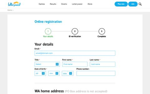 Screenshot of Signup Page lotterywest.wa.gov.au - Register To Play Lotto Online | Lotterywest | Official WA Lottery | Play Online - captured May 23, 2017