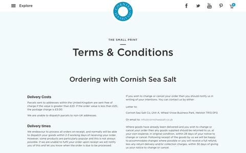 Screenshot of Terms Page cornishseasalt.co.uk - Terms and Conditions | Cornish Sea Salt - captured Sept. 3, 2017