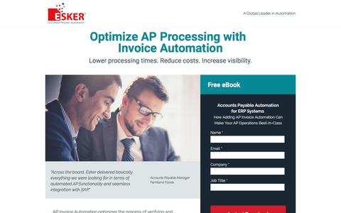 Screenshot of Landing Page esker.com - Optimizing AP Processing with Invoice Automation - captured Oct. 4, 2016