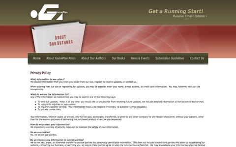 Screenshot of Privacy Page gameplanpress.com - GamePlan Press - Books to Help You Get a Running Start - captured Oct. 22, 2014