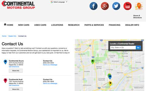 Screenshot of Hours Page continentalmotors.com - Contact Continental Motors Group in Countryside Illinois - captured Sept. 29, 2018