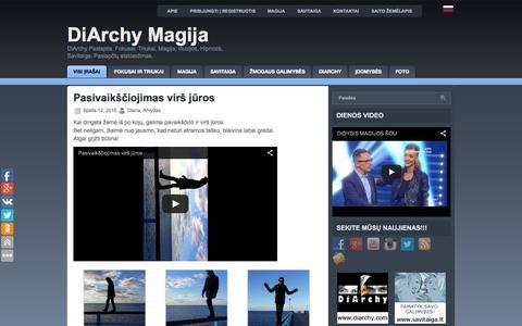 Screenshot of Home Page diarchy.lt - DiArchy Paslaptis. Fokusai, Triukai, Magija, Iliuzijos, Hipnozė, Savitaiga. Paslapčių atskleidimas. - captured Oct. 12, 2015
