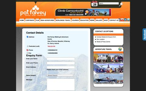 Screenshot of Contact Page patfalvey.com - Contact Form - captured Oct. 28, 2014