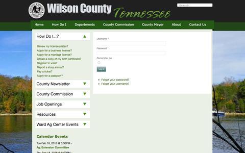 Screenshot of Login Page wilsoncountytn.gov - Wilson County Government - Login - captured Feb. 14, 2016