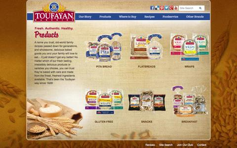 Screenshot of Products Page toufayan.com - Products - Toufayan Bakeries | pita bread bakery - captured Oct. 7, 2014