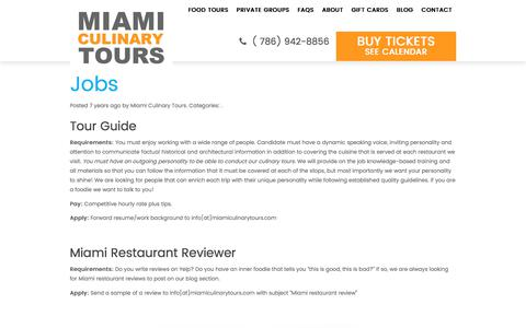 Screenshot of Jobs Page miamiculinarytours.com - Jobs - Miami Culinary Tours - captured June 10, 2017