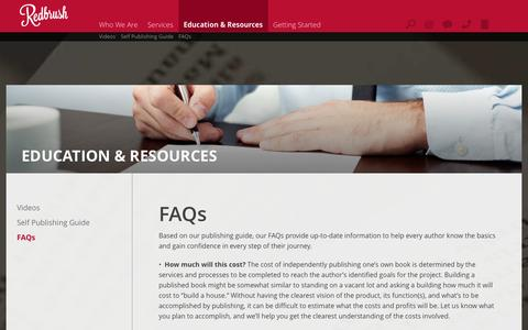 Screenshot of FAQ Page redbrush.com - Redbrush : Education & Resources : FAQs - captured Oct. 9, 2014