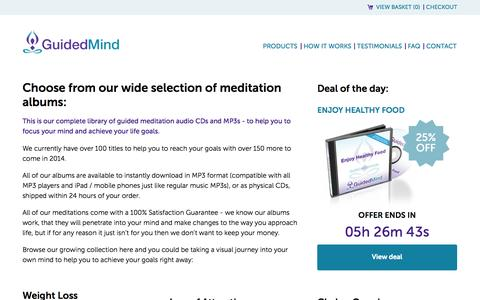Screenshot of Products Page guidedmind.com - Guided Meditation CDs and MP3s - captured Nov. 4, 2014