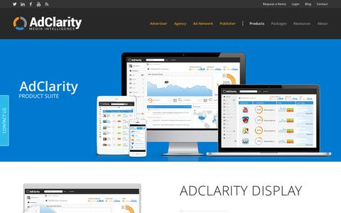 Screenshot of Products Page adclarity.com - Marketing Intelligence Saas Tool Products - AdClarity - captured Oct. 2, 2015