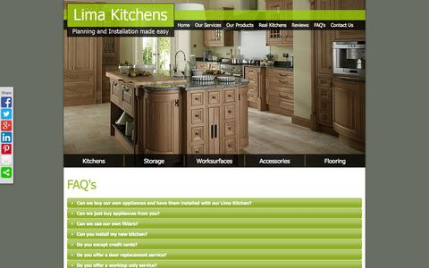 Screenshot of FAQ Page limakitchens.co.uk - FAQ's - captured Sept. 26, 2014