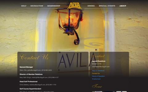 Screenshot of Contact Page avilagolf.com - Contact Us  |  Avila Golf and Country Club - captured Oct. 4, 2014