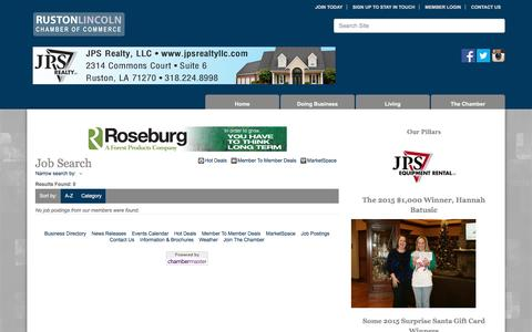 Screenshot of Jobs Page rustonlincoln.org - Job Search - Ruston-Lincoln Chamber of Commerce, LA - captured Dec. 3, 2016