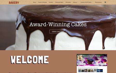 Screenshot of Home Page metrobakery.com - Home - Metrotainment Bakery - captured Sept. 6, 2015