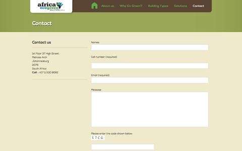 Screenshot of Contact Page eco-green-solutions.co.za - Contact Africa Eco Green Solutions | Africa Eco Green Solutions - captured Oct. 4, 2014