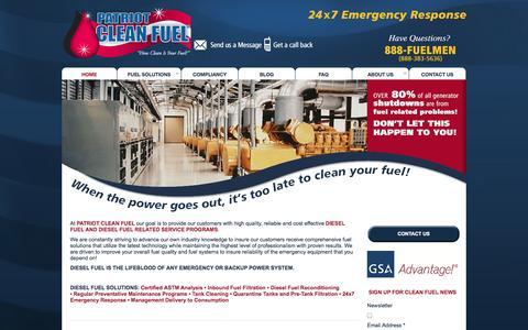 Screenshot of Home Page patriotcleanfuel.com - Patriot Clean Fuel - Diesel Fuel Maintenance - captured Sept. 30, 2014
