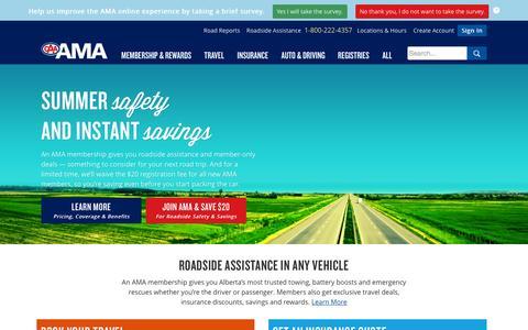 Screenshot of Home Page ama.ab.ca - AMA - Alberta Motor Association - Partners of CAA & AAA - captured June 18, 2015