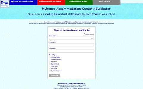 Screenshot of Signup Page mykonos-accommodation.com - Mykonos Accommodation Center Newsletter - captured Jan. 14, 2016