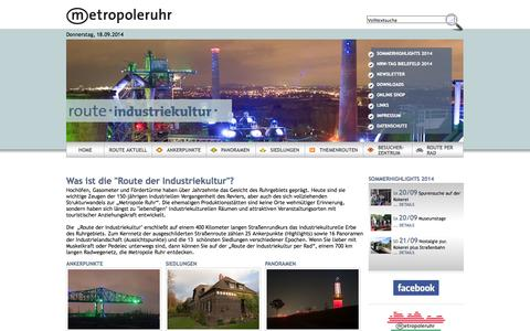 Screenshot of Home Page route-industriekultur.de - Route-Industriekultur - Route-Industriekultur - captured Sept. 19, 2014