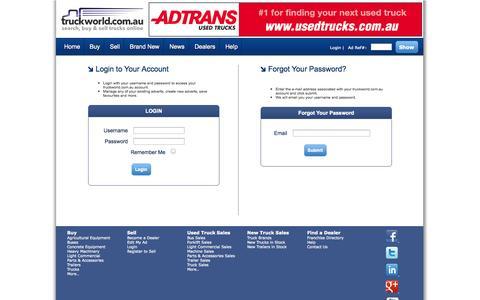 Screenshot of Login Page truckworld.com.au - Login to your Truckworld.com.au Account - captured Sept. 24, 2014