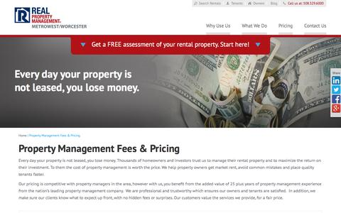 Screenshot of Pricing Page metrowestrpm.com - Property Management Fees Worcester MA | Real Property Management MetroWest Worcester - captured Feb. 14, 2016