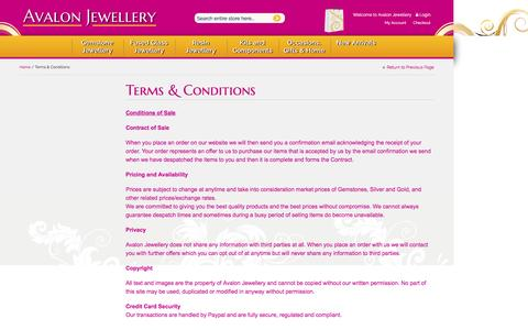 Screenshot of Terms Page avalon-jewellery.co.uk - Avalon Jewellery Handmade Gemstone Jewellery |  Terms & Conditions - captured Aug. 17, 2016