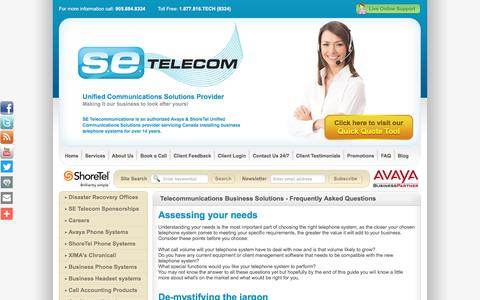 Screenshot of FAQ Page setelecom.ca - Telecommunications Business Solutions - Frequently Asked Questions - captured Nov. 15, 2016