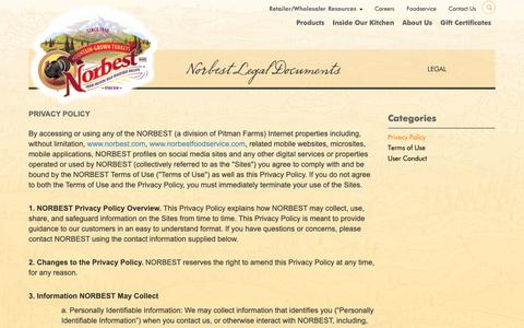 Screenshot of Privacy Page norbest.com - Privacy Policy | Norbest - captured Oct. 19, 2018