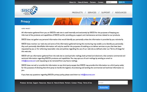 Screenshot of Privacy Page sisconet.com - Privacy - Systems Integration Specialists Company Systems Integration Specialists Company - captured Nov. 18, 2016