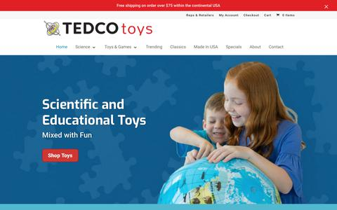 Screenshot of Home Page tedcotoys.com - Educational and Science Toys   TEDCO toys - captured Nov. 1, 2018