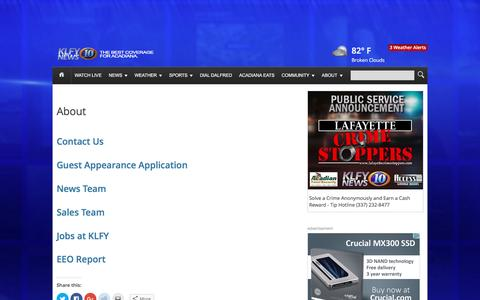 Screenshot of About Page klfy.com - About | KLFY - captured Sept. 4, 2016
