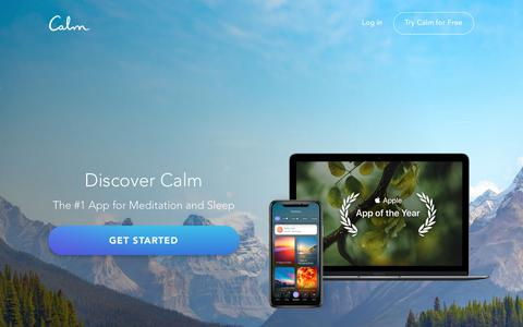 Screenshot of Home Page calm.com - Calm - Meditation Techniques for Sleep and Stress Reduction - captured Oct. 18, 2019