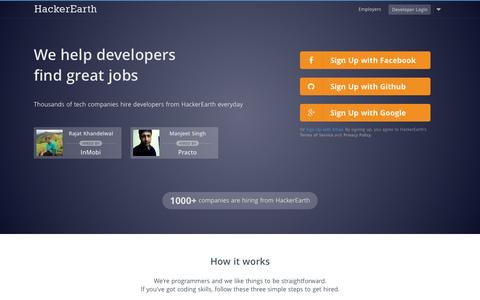 Screenshot of Home Page hackerearth.com - HackerEarth - Programming challenges and Developer jobs - captured Jan. 14, 2015