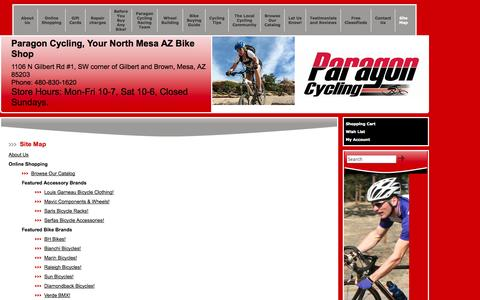 Screenshot of Site Map Page paragoncycling.com - Site Map - Paragon Cycling-Mesa, AZ - captured Sept. 27, 2014