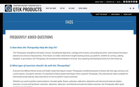 Screenshot of FAQ Page qtekproducts.com - FAQs - QTEK Products for Fitness, Athletes and Physical Therapists - captured July 14, 2017