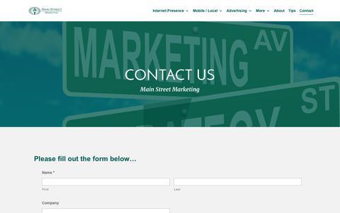 Screenshot of Contact Page main-street-marketing.com - Contact Us - captured July 27, 2018