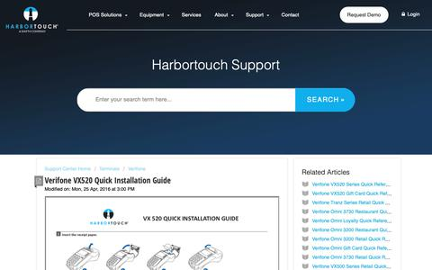 Screenshot of Support Page harbortouch.com - Verifone VX520 Quick Installation Guide : Harbortouch Support Center - captured Oct. 9, 2018