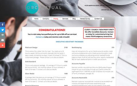Screenshot of Pricing Page orcvirtual.com - Pricing - captured Nov. 15, 2017
