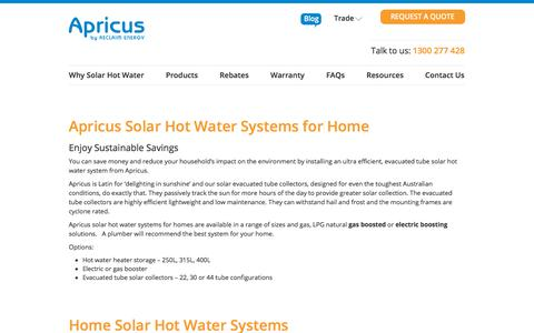 Screenshot of Products Page apricus.com.au - Solar Hot Water Systems for Home | Apricus Australia - captured Oct. 8, 2017