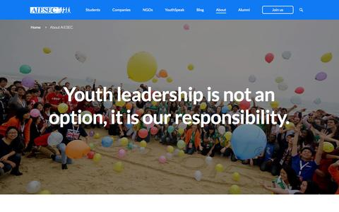 Screenshot of About Page aiesec.org - About AIESEC | AIESEC Global - captured Jan. 29, 2016
