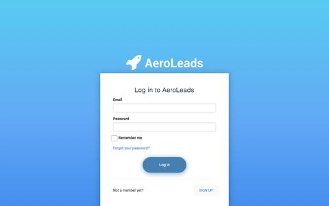 Screenshot of Login Page aeroleads.com - Sign In   AeroLeads - captured Jan. 29, 2018